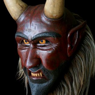 maska čerta ze dřeva, krampus mask