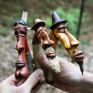 velká trojka dřevořezba